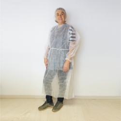 Patienten- / Schutzmantel weiß zum Binden 130 cm lang (10 Stück)