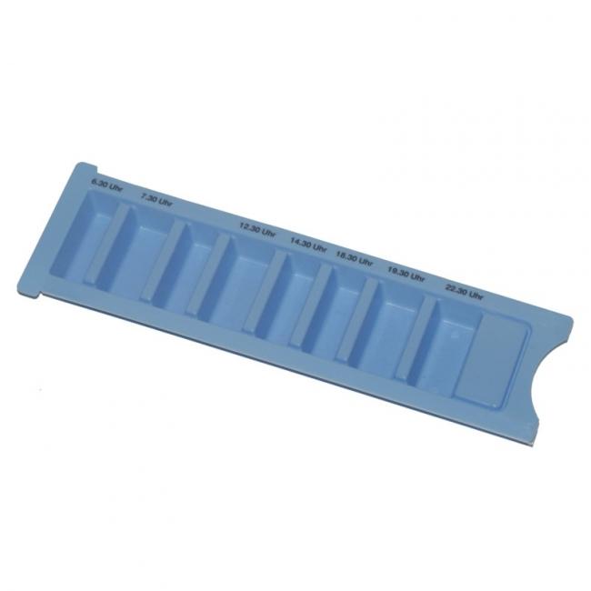 Medikamentendispenser blau 8-fach mit Schiebedeckel